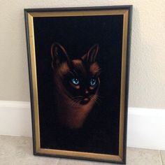 Black Velvet framed Painting Siamese Cat art by happykristen Velvet Painting, Creepy Clown, Siamese Cats, Painting Frames, Cat Art, Black Velvet, Painting Inspiration, One Pic, Mysterious