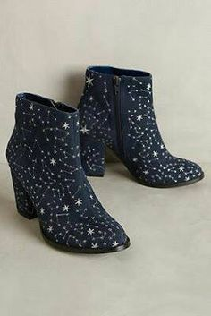 Show your unwavering love for star gazing with these embroidered constellation ankle booties that are after-hours approved. Show your unwavering love for star gazing with these embroidered constellation ankle booties that are after-hours approved. Sock Shoes, Cute Shoes, Me Too Shoes, Shoe Boots, Shoes Heels, Dress Boots, Lady Laura, Zooey Deschanel, Holiday Fashion