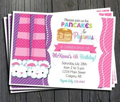 Pancakes and Pajamas Invitation  FREE Thank by ForeverYourPrints, $15.00 #pancakesandpajamas #pajamaparty #pancakeparty