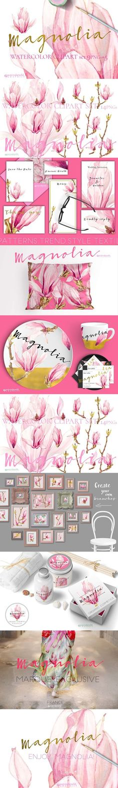 Magnolia-Clipart Set Watercolor. Watercolor Flowers