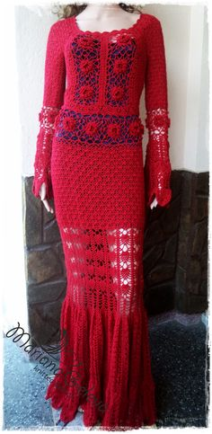 Elegant dress crocheted in red. Long granny dress for woman. Wedding dress /custom by AnnieCrochetFashion on Etsy
