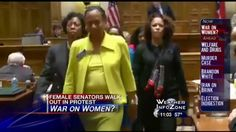 Georgia State Senators walk out in protest as Republican majority passes new restrictions on access to birth control. All female Democratic State Senators including Freddie Powell Sims, Valencia Seay, Donzella James, Horacena Tate, Gail Davenport, Gloria Butler, Nan Orrock and others walked out as voting took place to protest a set of harsh, new religiously-motivated restrictions on birth control and abortion.