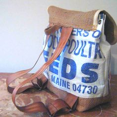 Burlap backpack with recycled seatbelt straps<3