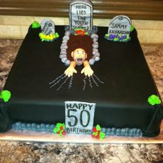 over the hill cake decorating ideas Funny 50th Birthday Cakes, 40th Cake, Happy 50th Birthday, Birthday Ideas, Fifty Birthday, Birthday Parties, Graveyard Cake, Over The Hill Cakes, Flamingo Birthday
