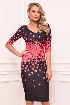 Rochie Rosie Midi cu Maneci Scurte cu decolteu in V Bodycon Dress, Formal Dresses, Fit, Fashion, Dresses For Formal, Moda, Body Con, Formal Gowns, Shape