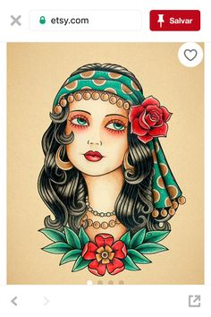 Old school tattoo. от Retrocrix tattoo old school Gypsy Woman Tattoo print. Old School Tattoo print. Tattoo Girls, Gypsy Girl Tattoos, Print Tattoos, Hand Tattoos, Sleeve Tattoos, Tattoo Sleeves, Gypsy Tattoo Sleeve, Thigh Tattoos, Wolf Tattoos