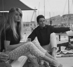 Brigitte Bardot and Jacques Charrier, christening of the boat Le Babette, June 5, 1959