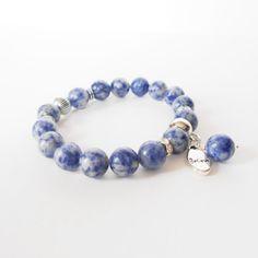 sodalite gemstone stretch bracelet everyday bracelet by jcudesigns