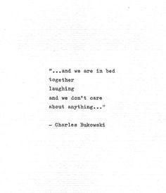 "Charles Bukowski Typewritten Quote ""..in bed together laughing.."" Romantic Gift Vintage Typewriter L"
