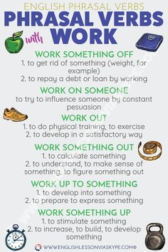 English Phrasal Verbs with WORK. Learn English phrasal verbs in context in English language online course. Over 40 Phrasal Verbs and Idioms in context. Easy way to improve your English vocabulary. English Learning Course, English Writing Skills, English Language Learning, English Lessons, Teaching English, Education English, English Verbs, English Vocabulary Words, Learn English Words