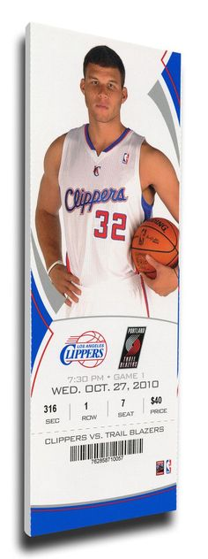 Blake Griffen NBA Debut Canvas Mega Ticket - Los Angeles Clippers