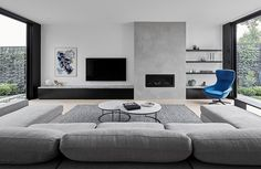 There maybe hundreds of different contemporary living room styles, but the easiest way to begin to get the contemporary look … Living Room Decor Fireplace, Home Fireplace, Living Room Tv, Fireplace Design, Living Room Interior, Home And Living, Apartment Living, Small Living, Cozy Living