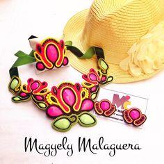 Collar Flor de Loto Soutache •••Accesorios M2C••• Soutache Venezuela +584149565090 Envíos Internacionales y Ventas al Mayor!