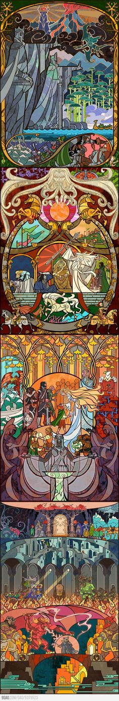 LotR Stained Glass. Reminds me of the stained glass illustrations at the beginning of Beauty and the Beast.