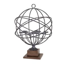 Trisha Yearwood Home Collection Cowboy Armillary Iron / Wood Tealight