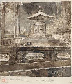c.188 The Tomb of Iyeyasu Tokugawa by John La Farge;     Watercolor and graphite on off-white wove paper