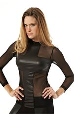 This is a seductive and sexy black sheer top. The top features a leather like cross in the front and a full sheer in the back. You'll certainly have heads turning once you slip into this sexy top.Details:- Nylon/Nailon/Spandex/Elastano- Hand Wash Cold- Made in USA