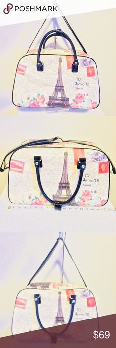 Paris Take me to someone special overnight bag  Perfect travel bad or carryon for a weekend getaway   Eiffel Tower Paris with map  in the background   adjustable black strap with silver hardware   Inside pocket and black lining   See pictures for details, condition and measurements   Ask questions before buying   Bundle and create a reasonable offer Bags Travel Bags