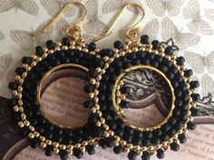 Small Hoop Earrings - Black and Gold Beaded Hoops - Handmade Jewelry by WorkofHeart on Etsy Seed Bead Earrings, Copper Earrings, Gold Hoop Earrings, Beaded Earrings, Earrings Handmade, Handmade Jewelry, Seed Beads, Bead Jewellery, Wire Jewelry