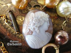 Madonna Enchanted antique shell cameo necklace Victorian gold large faux pearl Edwardian lady portrait one of a kind jewelry assemblage by madonnaenchanted on Etsy