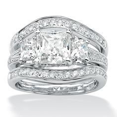7.20 CT TW Princess-Cut and Round DiamonUltra™ Cubic Zirconia Wedding Band Ring Set in Platinum-Plated