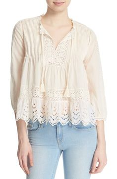 Rebecca Taylor Eyelet Detail Cotton Voile Top available at #Nordstrom