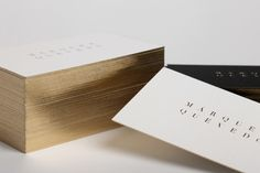 Brand identity and gold foiled business cards for Mexican architectural studio Marquez Quevedo by La Tortillería