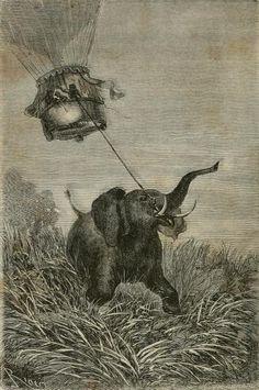 Jules Verne – Cinq Semaines en ballon, ilustración de Édouard Riou (1867)