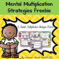 FREE!!  This resource features 6 posters featuring the common mental multiplication strategies. Each poster showcases an example of the strategy and colorful illustrations.   The strategies in focus are: 1. DOUBLE STRATEGY 2. SPLIT STRATEGY 3. COMPENSATION STRATEGY 4. USING ARRAYS 5. REPEATED ADDITION 6. MAKING GROUPS