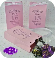 "Personalized Quinceanera Favor Bags - Favor boxes come fully assembled with ribbon left off the top of them when they arrive to fill the boxes first.  Very easy to assemble.  They measure 3"" wide x 4 3/4"" high and 1"" deep.  These have plenty of room to add your favorite candy, cookie, mints or what ever you would like to them.  Made from cardstock."