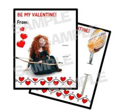 Princess Merida BRAVE Valentines Day Card HOLDS LOLLIPOP Personalized FREE SHIP