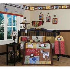 This 13-piece crib bedding set is great for getting your nursery ready for your little one's arrival. This set includes a quit, bumper, sheet, valance skirt, diaper stacker, toy bag, accent pillows and wall art.