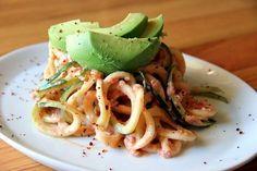raw spiralized zucchini pasta with tahini tomato dressing #raw #vegan #recipe from Organic Authority | Sambazon