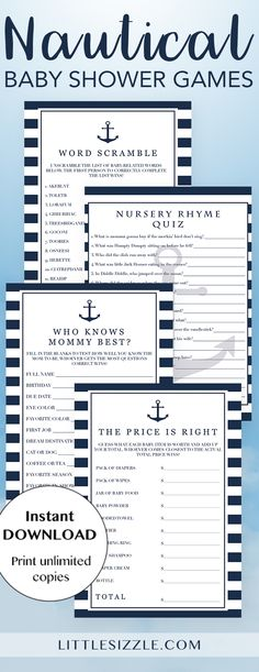 Nautical baby shower games for boy printable by LittleSizzle. Entertain your guests with this fun package of nautical baby shower games to celebrate the arrival of a baby boy. The navy and white stripes games pack includes everything you need to entertain large groups with a variety of activities. Baby word scramble, nursery rhyme quiz, who knows mommy best and the price is right. Simply download, print and play! #babyshowergames #babyshowerideas #boy #blue #navystripes #anchor #babyshower…