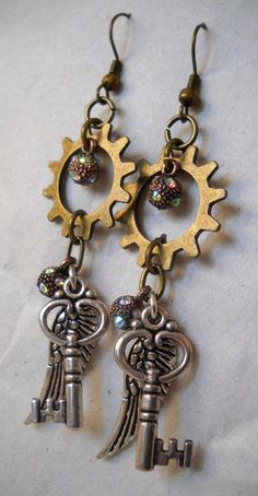 Steampunk Keys Key Drop Dangle Earrings Mechanical Gears and Cogs Gothic Antique Bronze Copper Silver Gold Punk Goth