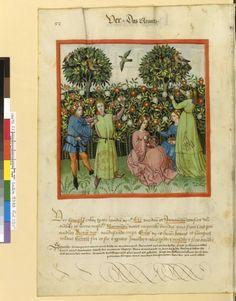 Tacuinum Sanitatis - BNF Ms. Latin 9333 Date: Rhineland, mid- 15th century.  fol 53v Der Frühling