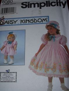 "DAISY KINGDOM - SIMPLICITY #8080-GIRLS EASTER DRESS-HAT & 13"" DOLL PATTERN 5-8uc #SIMPLICITYDAISYKINGDOM"