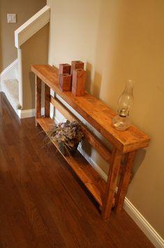 Rustic Sofa Tables, Wood Sofa Table, Wooden Tables, Narrow Entryway, Long Sofa, American Walnut, Custom Woodworking, Woodworking Ideas, How To Distress Wood