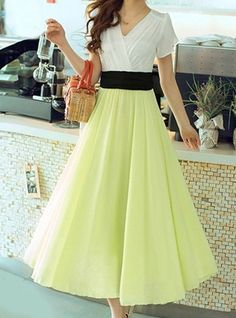 $18.75 Color Block Chiffon Ladylike Style V-Neck Short Sleeve Dress For Women
