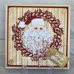 Sizzix Santa head, Tonic Studios Yuletide Greetings wreath,  Created by Justine Pearmain©