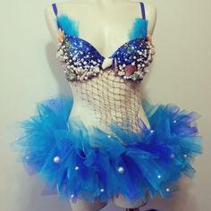 Mermaid Rave Outfit Tutu Blue Sequin Shells by RevoltCouture