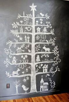 Kerstboom óp je muur