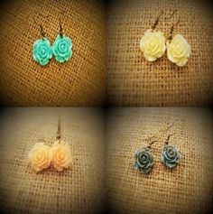 Pastel Rose Earrings  Brides Maids Gift  Set by HoneyCreekSisters
