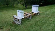 Honey bee hive stand. Cheap, easy to get materials, easy to put up, and quick to take down or move if needed. These are 10' 4x4s and the stand will hold 4 hives.