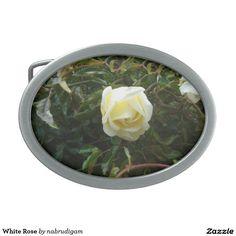 White Rose Oval Belt Buckle