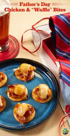 """What could be more Southern than these RITZ Chicken & """"Waffle"""" Toppers? Place some cooked bacon, a piece of popcorn chicken, and a slice of muenster cheese on a RITZ cracker. Melt the cheese then drizzle with maple-flavored syrup. Serve up at brunch as a tasty Father's Day treat for dad."""