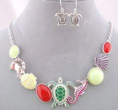 Ocean Necklace Set Red Green Silver Fashion Jewelry NEW Turtle Seahorse Crab #FashionLeader