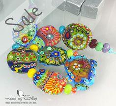 Handmade lampwork beads -- free-formed -- M i x e d   W i l d l y  2  -- SRA -- glass set -- made by Silke Buechler