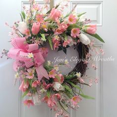 Browse unique items from JansElegantWreaths on Etsy, a global marketplace of handmade, vintage and creative goods. Spring Door Wreaths, Easter Wreaths, Summer Wreath, Holiday Wreaths, Pink Wreath, Tulip Wreath, Floral Wreaths, Corona Floral, Wreath Crafts