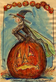 """""""Lonesome for Halloween"""" I drew this on a piece of cheap Manila paper, the kind we were given to draw on in ancient school days. Copyright John Randall York"""